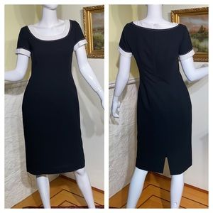 Elegant Précis Black & White Classic Sheath Dress
